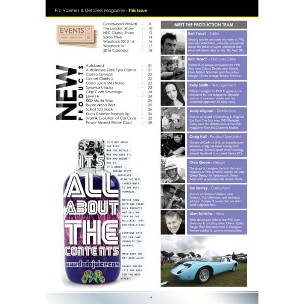 PRO Detailer Magazine – Nr. 2-2016 – Table of Content 2